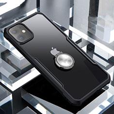 Apple iPhone 11用360度 フルカバーハイブリットバンパーケース クリア透明 プラスチック 鏡面 アンド指輪 マグネット式 アップル ブラック