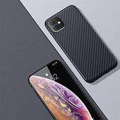 Apple iPhone 11用炭素繊維ケース ソフトタッチラバー ツイル カバー アップル ブラック