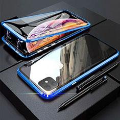 Apple iPhone 11用ケース 高級感 手触り良い アルミメタル 製の金属製 360度 フルカバーバンパー 鏡面 カバー M03 アップル ネイビー