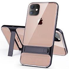 Apple iPhone 11用ハイブリットバンパーケース スタンド プラスチック 兼シリコーン カバー A06 アップル ブラック