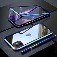 Apple iPhone 11用ケース 高級感 手触り良い アルミメタル 製の金属製 360度 フルカバーバンパー 鏡面 カバー M09 アップル ネイビー