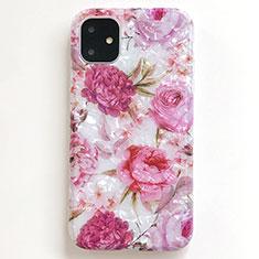 Apple iPhone 11用シリコンケース ソフトタッチラバー 花 カバー S01 アップル ピンク