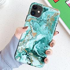 Apple iPhone 11用シリコンケース ソフトタッチラバー バタフライ パターン カバー S11 アップル グリーン