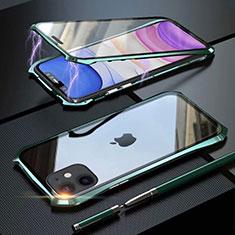 Apple iPhone 11用ケース 高級感 手触り良い アルミメタル 製の金属製 360度 フルカバーバンパー 鏡面 カバー M06 アップル グリーン