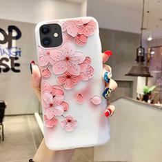 Apple iPhone 11用シリコンケース ソフトタッチラバー 花 カバー H19 アップル ピンク