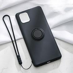 Apple iPhone 11用極薄ソフトケース シリコンケース 耐衝撃 全面保護 アンド指輪 マグネット式 バンパー T01 アップル ブラック