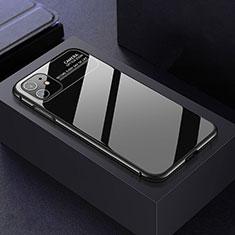 Apple iPhone 11用ケース 高級感 手触り良い アルミメタル 製の金属製 360度 フルカバーバンパー 鏡面 カバー T06 アップル ブラック