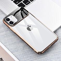 Apple iPhone 11用ハードカバー クリスタル クリア透明 S04 アップル ゴールド