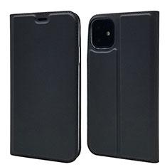 Apple iPhone 11用手帳型 レザーケース スタンド カバー T11 アップル ブラック