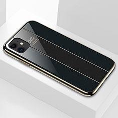 Apple iPhone 11用ハイブリットバンパーケース プラスチック 鏡面 カバー T03 アップル ブラック