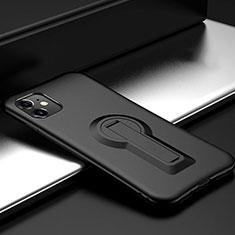 Apple iPhone 11用ハイブリットバンパーケース スタンド プラスチック 兼シリコーン カバー R01 アップル ブラック