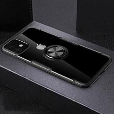 Apple iPhone 11用極薄ソフトケース シリコンケース 耐衝撃 全面保護 クリア透明 アンド指輪 マグネット式 C02 アップル ブラック