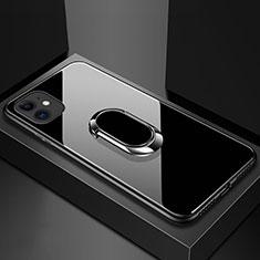 Apple iPhone 11用ハイブリットバンパーケース プラスチック 鏡面 カバー アンド指輪 マグネット式 T01 アップル ブラック