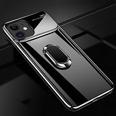 Apple iPhone 11用ハードケース プラスチック 質感もマット アンド指輪 マグネット式 P02 アップル ブラック