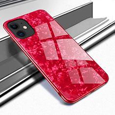 Apple iPhone 11用ハイブリットバンパーケース プラスチック 鏡面 カバー T04 アップル レッド