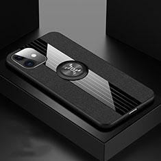 Apple iPhone 11用極薄ソフトケース シリコンケース 耐衝撃 全面保護 アンド指輪 マグネット式 バンパー T03 アップル ブラック
