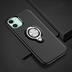 Apple iPhone 11用ハイブリットバンパーケース プラスチック アンド指輪 マグネット式 R02 アップル ブラック