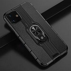 Apple iPhone 11用ハイブリットバンパーケース プラスチック アンド指輪 マグネット式 R03 アップル ブラック