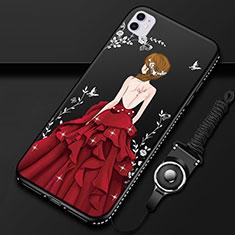 Apple iPhone 11用シリコンケース ソフトタッチラバー バタフライ ドレスガール ドレス少女 カバー M01 アップル レッド・ブラック