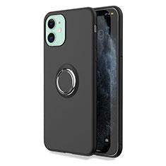 Apple iPhone 11用極薄ソフトケース シリコンケース 耐衝撃 全面保護 アンド指輪 マグネット式 バンパー T04 アップル ブラック