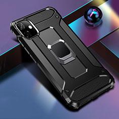 Apple iPhone 11用ハイブリットバンパーケース プラスチック アンド指輪 マグネット式 R04 アップル ブラック