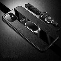 Apple iPhone 11用シリコンケース ソフトタッチラバー レザー柄 アンド指輪 マグネット式 T03 アップル ブラック