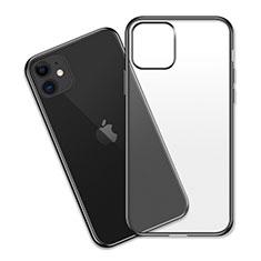 Apple iPhone 11用極薄ソフトケース シリコンケース 耐衝撃 全面保護 クリア透明 S04 アップル ブラック