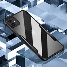 Apple iPhone 11用ハイブリットバンパーケース クリア透明 プラスチック 鏡面 カバー H01 アップル ブラック