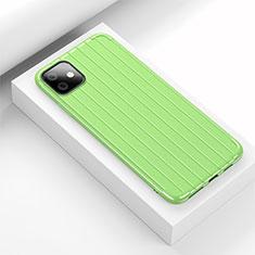 Apple iPhone 11用シリコンケース ソフトタッチラバー ライン カバー C01 アップル グリーン