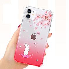 Apple iPhone 11用極薄ソフトケース シリコンケース 耐衝撃 全面保護 クリア透明 花 T03 アップル レッド