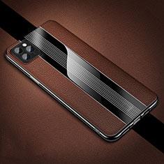 Apple iPhone 11 Pro用シリコンケース ソフトタッチラバー レザー柄 カバー H05 アップル ブラウン
