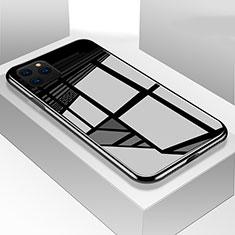 Apple iPhone 11 Pro用ハイブリットバンパーケース プラスチック 鏡面 カバー T05 アップル ブラック