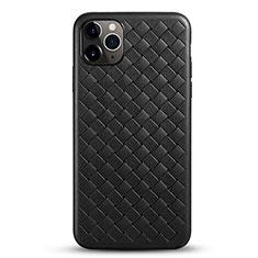 Apple iPhone 11 Pro用シリコンケース ソフトタッチラバー レザー柄 カバー G01 アップル ブラック