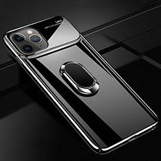 Apple iPhone 11 Pro用ハードケース プラスチック 質感もマット アンド指輪 マグネット式 P02 アップル ブラック