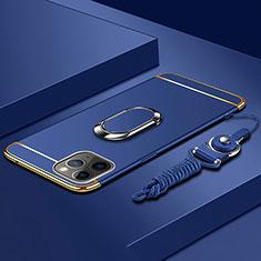 Apple iPhone 11 Pro用ケース 高級感 手触り良い メタル兼プラスチック バンパー アンド指輪 T01 アップル ネイビー