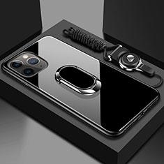 Apple iPhone 11 Pro用ハイブリットバンパーケース プラスチック 鏡面 カバー アンド指輪 マグネット式 T01 アップル ブラック