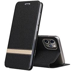 Apple iPhone 11 Pro用手帳型 レザーケース スタンド カバー T04 アップル ブラック
