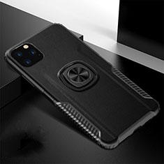 Apple iPhone 11 Pro用ハイブリットバンパーケース プラスチック アンド指輪 マグネット式 R02 アップル ブラック