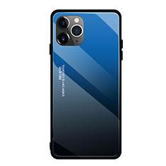 Apple iPhone 11 Pro用ハイブリットバンパーケース プラスチック 鏡面 虹 グラデーション 勾配色 カバー H01 アップル ネイビー