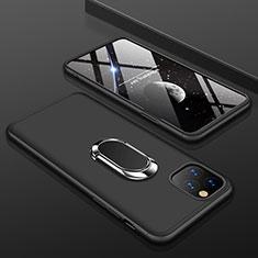 Apple iPhone 11 Pro用ハードケース プラスチック 質感もマット 前面と背面 360度 フルカバー アンド指輪 R01 アップル ブラック