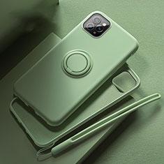 Apple iPhone 11 Pro用極薄ソフトケース シリコンケース 耐衝撃 全面保護 アンド指輪 マグネット式 バンパー T02 アップル グリーン