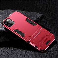 Apple iPhone 11 Pro用ハイブリットバンパーケース スタンド プラスチック 兼シリコーン カバー R02 アップル レッド