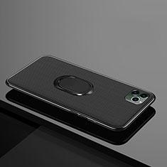 Apple iPhone 11 Pro用極薄ソフトケース シリコンケース 耐衝撃 全面保護 アンド指輪 マグネット式 バンパー T04 アップル ブラック