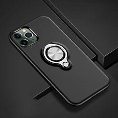 Apple iPhone 11 Pro用ハイブリットバンパーケース プラスチック アンド指輪 マグネット式 R04 アップル ブラック