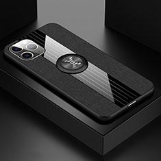 Apple iPhone 11 Pro用極薄ソフトケース シリコンケース 耐衝撃 全面保護 アンド指輪 マグネット式 バンパー T06 アップル ブラック