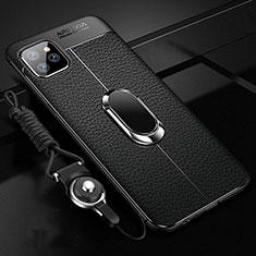 Apple iPhone 11 Pro用シリコンケース ソフトタッチラバー レザー柄 アンド指輪 マグネット式 T04 アップル ブラック