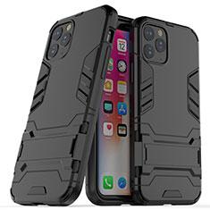 Apple iPhone 11 Pro用ハイブリットバンパーケース スタンド プラスチック 兼シリコーン カバー R03 アップル ブラック