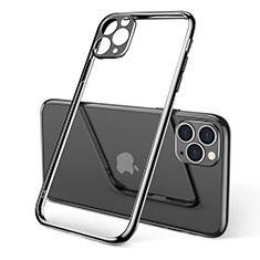 Apple iPhone 11 Pro用極薄ソフトケース シリコンケース 耐衝撃 全面保護 クリア透明 S01 アップル ブラック