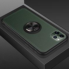 Apple iPhone 11 Pro用ハイブリットバンパーケース プラスチック アンド指輪 マグネット式 R07 アップル ブラック