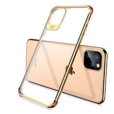 Apple iPhone 11 Pro用極薄ソフトケース シリコンケース 耐衝撃 全面保護 クリア透明 S02 アップル ゴールド